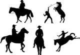 Set of 5 cowboy silhouettes