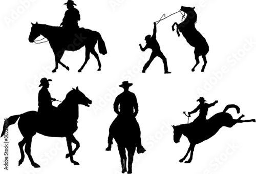 Set of 5 cowboy silhouettes - 80322005
