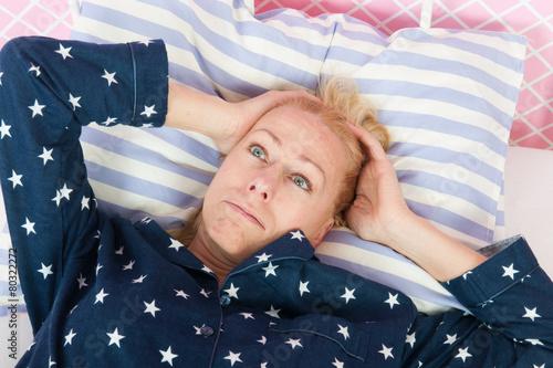 Leinwandbild Motiv Mature woman with insomnia