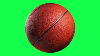 Basketball, loop seamless, isolated on green screen