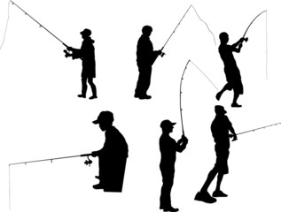 Fishing Silhouette on white background
