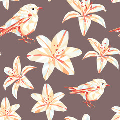 Vintage spring colorful polygon flower bird pattern