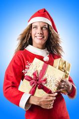 Woman santa claus on white