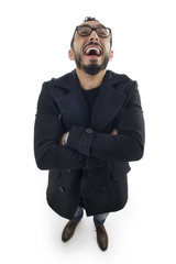Funny Businessman with Crazy Expression isolated