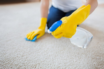 close up of woman with cloth cleaning carpet