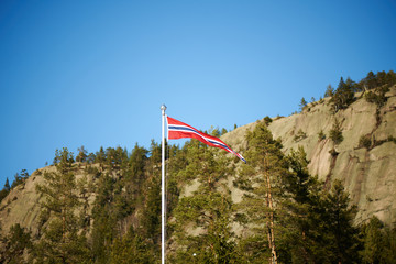 Norwegian pennant on a pole