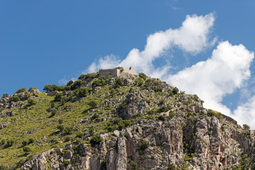 Mountain with ancient ruins and walls at Cefalu Sicily