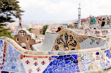 Details on ceramic in the famous park Guell