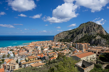 Bay in Cefalu Sicily city and hill