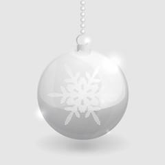 Transparent shining glass christmass ball with snowflake