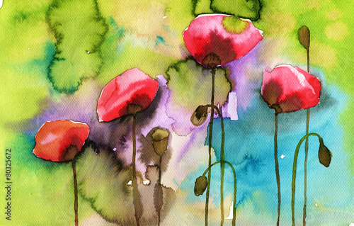 Fototapety, obrazy : watercolor illustration depicting spring flowers in the meadow