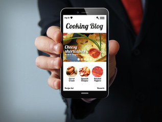 cooking blog businessman smartphone