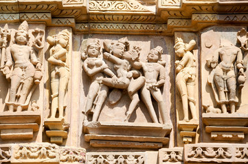Detail of artwork at the Khajuraho temples