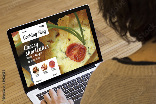 woman computer cooking online learning - 80326054