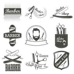Set of vintage barber shop logo, labels, badges and design