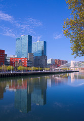 riverside of nervion river in spanish city bilbao.