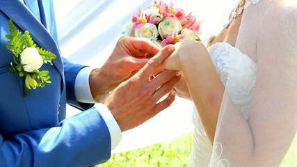 bride and groom exchanging wedding rings. couple in love
