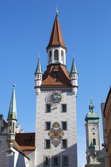 Historic bell tower in Munich