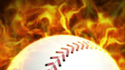 Fiery Baseball Ball, Flames Background