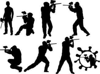 Paintball players silhouette
