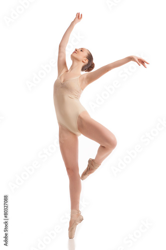 Foto op Canvas Dance School young modern ballet dancer isolated on white background