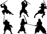 The set of Samurai warrior vector silhouette