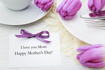 Mothers day card with table setting