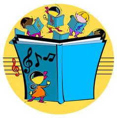 cartoon kids with musical book