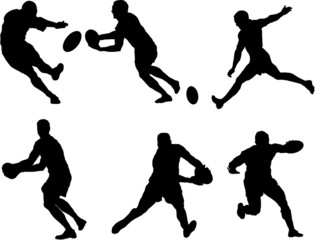 Set of rugny player silhouette