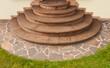 Leinwanddruck Bild - Positive Kegeltreppe aus braunem Buntsandstein mit Imprägnierung
