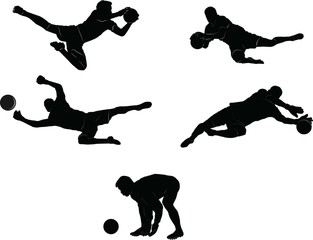 The set of soccer goalkeeper silhouette