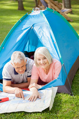 Senior Couple Studying Map At Campsite