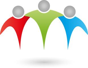Drei Personen, Partner, Team, Freunde, Netzwerk