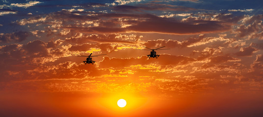 Mi-8 helicopters, warm sunset, celestial panorama