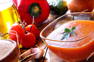 Gazpacho prepared on a wooden table