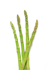 Asparagus tips on white