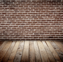 brickwall with wooden floor