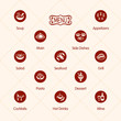 Classic restaurant menu icons isolated - 80330425