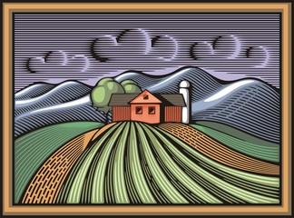 Organic Farming Vector Illustration in Woodcut Style