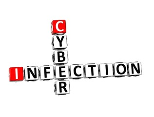 3D Crossword Cyber Infection on white background