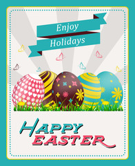 Happy easter greeting card with painted eggs and flowers
