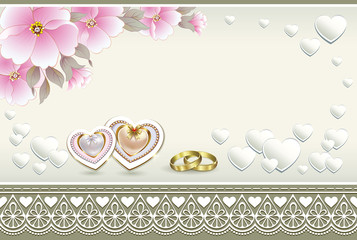 wedding card with rings and hearts on a background with flowers