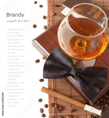 Brandy, cigar, book and coffee beans and bow tie - 80332007