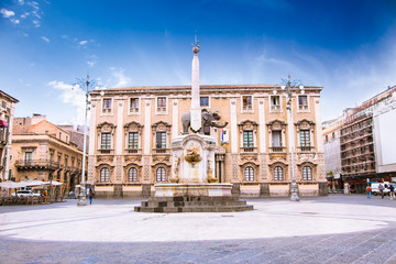 Elephant fountain and Cathedral Square, Catania, Sicily