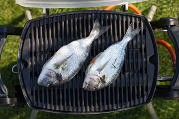 Fresh dorado fish grill cooking
