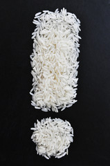 exclamation of rice on a black background.