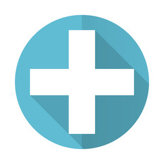 plus blue flat icon cross sign
