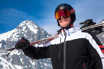 Skier at High Tatras mountains, Slovakia