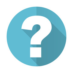 question mark blue flat icon ask sign