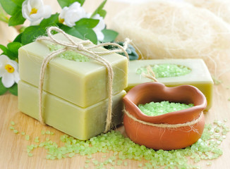 Natural handmade soap and bath salt for aromatherapy